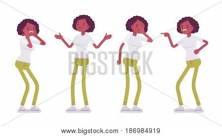 Set of black or african american young woman, negative emotions, standing troubled and puzzled, facepalm, aggressive, pointing, vector flat style cartoon illustration, isolated, white background