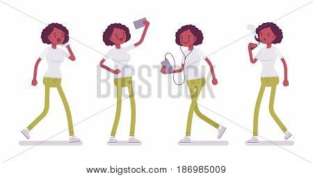 Set of black or african american young woman in walking pose, using phone, chatting, vaping, listening to music, making selfie, vector flat style cartoon illustration, isolated, white background