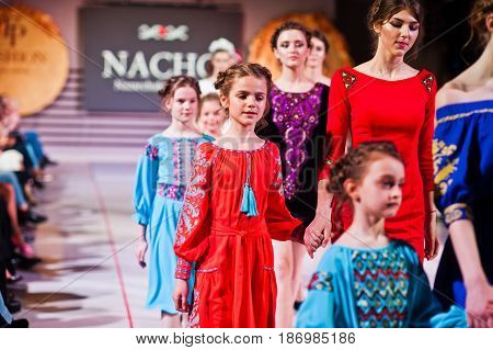 Ternopil, Ukraine - May 12, 2017: Fashion Models With Kids Wearing Clothes Designed By Nacho From Th
