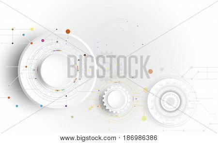 Vector illustration Hi-tech digital technology design colorful on circuit board and gear wheel engineering digital telecoms technology concept Abstract futuristic- technology on white color background and communication.