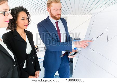 Business people analyze a graph on the whiteboard - man holds a pocket calculator and is pointing at the graph
