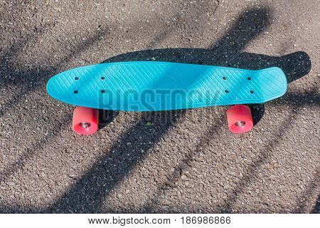 Blue penny board with pink wheels stands on the track.