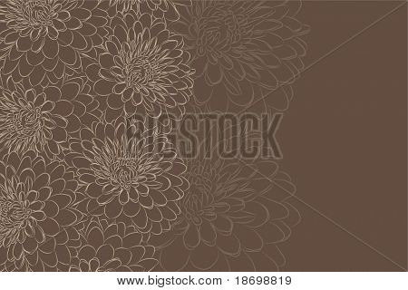 beautiful Floral vector background (brown flowers on dark)