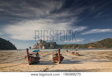 KO PHI PHI, THAILAND, February 2, 2014: Tropical beach with traditional long tail boats on the beach of Ko Phi Phi, Andaman Sea, famous tourist destination in Thailand