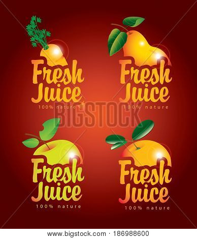 set of vector banners for fresh juices with pictures of carrot pear apple orange and inscriptions on a red background