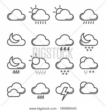 Meteorology signs and weather line design vector illustration