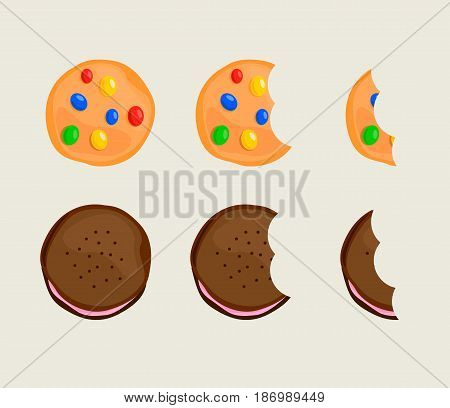 Biscuit cracker in different eating stages illustration