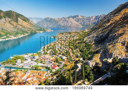 Great view of harbour in sunny day at Kotor bay (Boka Kotorska). Picturesque and gorgeous scene. Location place famous resort Montenegro, Balkan peninsula, Adriatic sea, Europe. Beauty world.