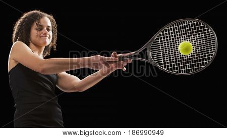 Caucasian tennis player hitting the tennis ball