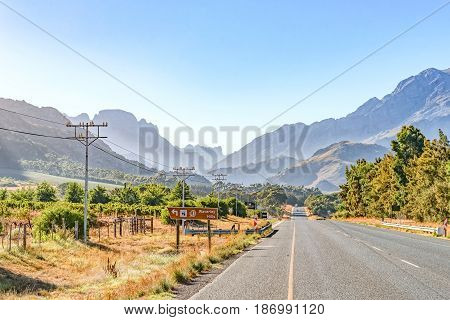 TULBACH SOUTH AFRICA - APRIL 2 2017: An early morning view of the road between Tulbach and Ceres in the Boland area of the Western Cape Province