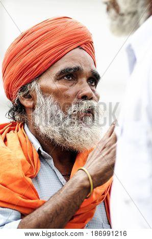 Amritsar India september 5 2010: Portrait of Indian man sikh praying.