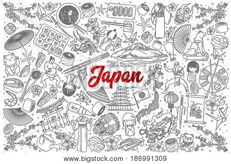 Hand drawn Japan doodle set background with red lettering in vector