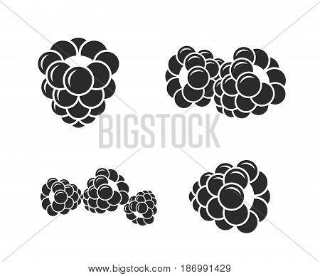 Blackberry. Icon set. Fresh berries on white background