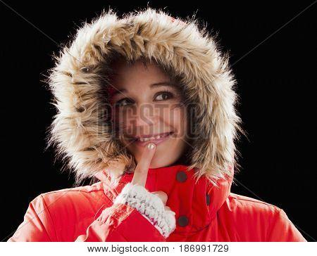 Caucasian woman wearing fur-hooded coat