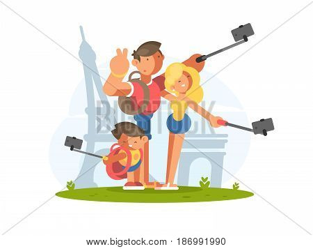 Family dad mom and son doing selfie on vacation. Vector illustration