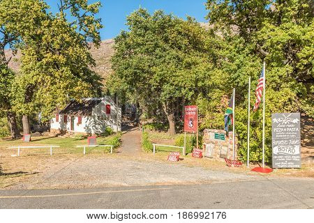 TULBACH SOUTH AFRICA - APRIL 2 2017: The Tolhuis Bistro a farmstall in the historic toll house in Michells Pass between Tulbach and Ceres in the Boland area of the Western Cape Province