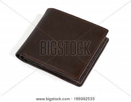 Brown leather purse isolated on white background