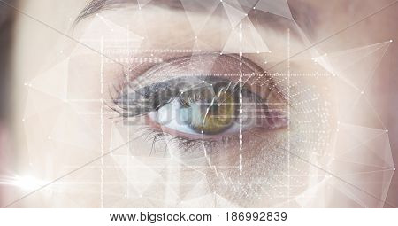Digital composite of Close-up of eye interface