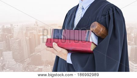 Digital composite of Midsection of judge with books and gavel against city