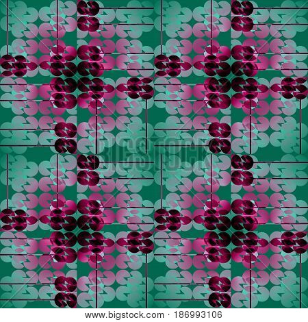 Abstract geometric seamless background. Regular circles pattern in green, violet and red shades overlaying.