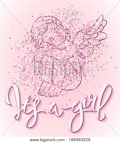 Calligraphy lettering It's a girl. Vector hand drawn invitation to the baby shower for a girl with angel and pink glittering confetti