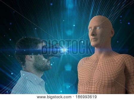 Digital composite of Digital composite image of man looking at 3d human figure through glasses