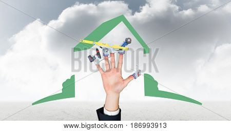 Digital composite of Digital composite image of hand with tools  against cloudy sky