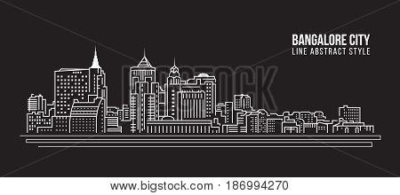 Cityscape Building Line art Vector Illustration design - Bangalore city