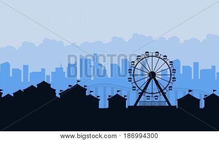 Amusement park landscape silhouettes background vector art