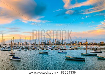 Melbourne city skyline viewed from St. Kilda beach Victoria Australia