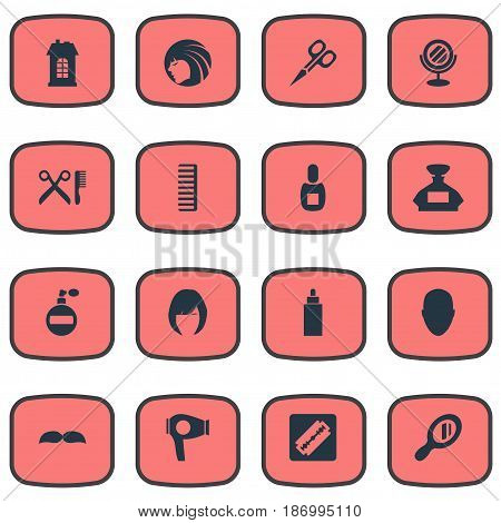 Vector Illustration Set Of Simple Beautician Icons. Elements Peeper, Glamour Lady, Cut Tool And Other Synonyms Drying, Woman And Girl.