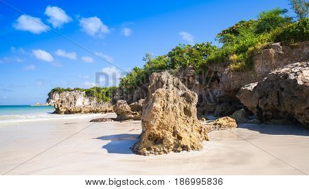 Coastal Rocks Of Macao Beach, Natural Landscape