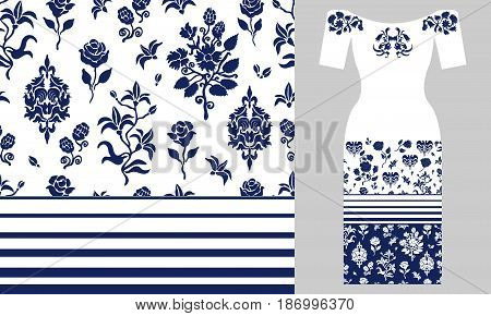 Seamless vector pattern with flowers and damask elements. Summer textile collection.