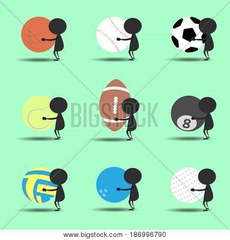 Black man character cartoon hold sport balls with green background. Flat graphic. logo design. sports cartoon. vector. illustration.