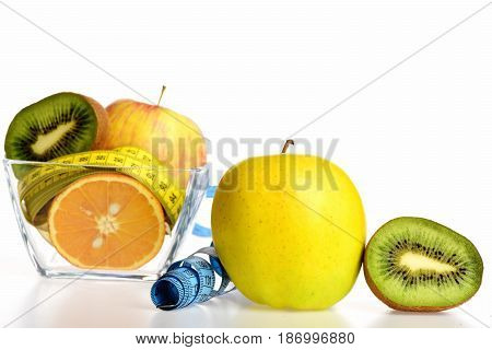 Fresh Fruit: Apple, Kiwi Fruit And Orange With Measure Tape