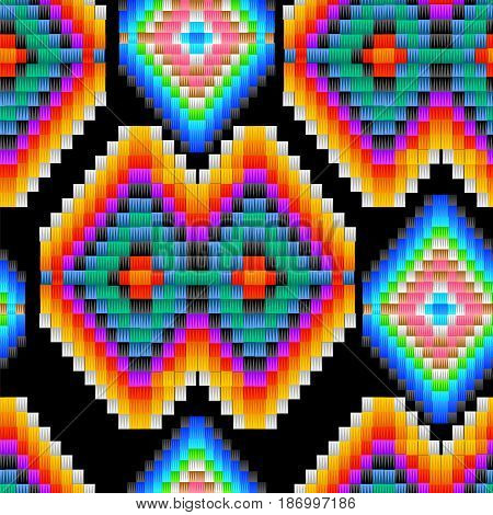 Seamless ethnic tribal pattern in Mexican and Peruvian colors, imitating yarn and woven fabric