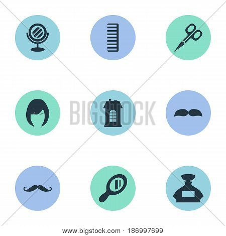 Vector Illustration Set Of Simple Barber Icons. Elements Cut Tool, Scent, Hair And Other Synonyms Looking-Glass, Whiskers And Glass.