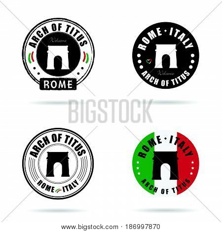 Seal Arch Of Titus Rome Set Illustration