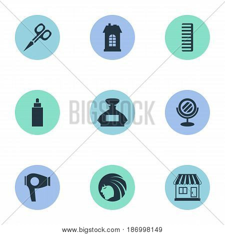 Vector Illustration Set Of Simple Hairdresser Icons. Elements Drying Machine, Premises, Container And Other Synonyms Tube, Building And Container.