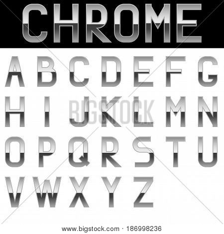 Alphabet. Chrome letters. Vector illustration isolated on white background