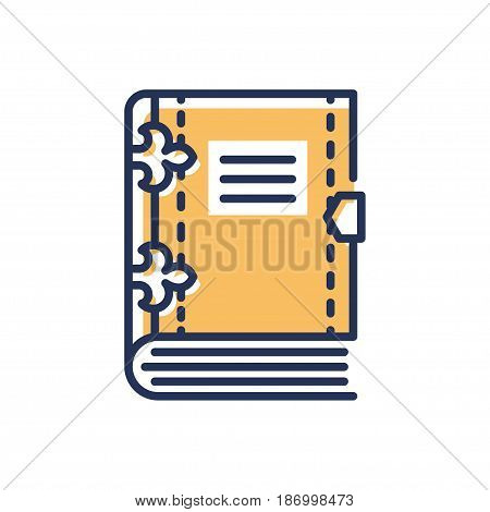 Book - modern vector single line icon. An image of a thick book with some blank lines for a name of the person, subject. Representation of education, learning, reading.