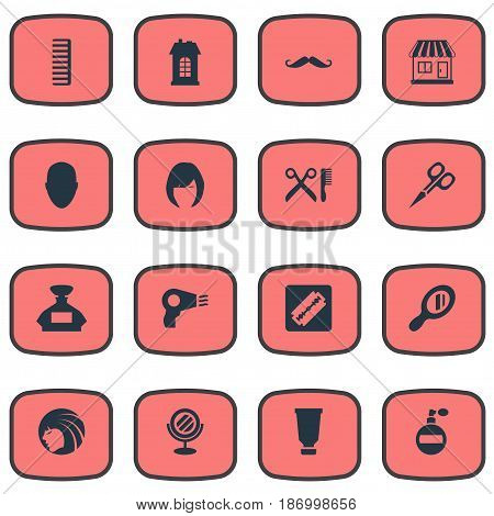 Vector Illustration Set Of Simple Barber Icons. Elements Whiskers, Human, Hackle And Other Synonyms Comb, Odor And Reflector.