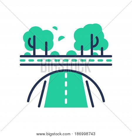 Green Road - modern vector single line icon. An image of a paved emerald way, trees, bushes, forest. Representation of nature, health, eco lifestyle, better tomorrow.
