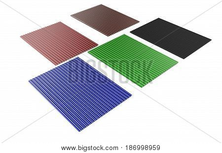 Black red green blue brown roof tiles isolated on white background 3d render