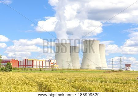 Nuclear power plant Temelin, Czech Republic, cloudy sky