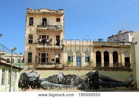 HAVANA CUBA - 08 DECEMBER 2016: Graffiti on the wall on the school court in the old part of Havana on Cuba.