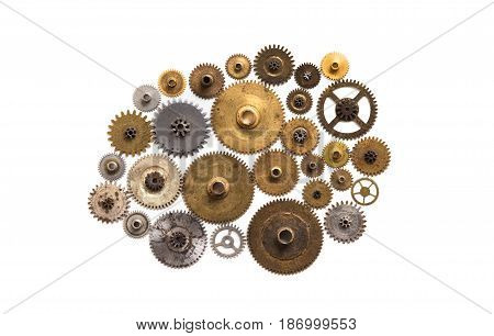 Cog gear wheel mechanic machinery ornament isolated on white. Vintage technology parts closeup. Abstract shape object with many textured aged clockwork details.