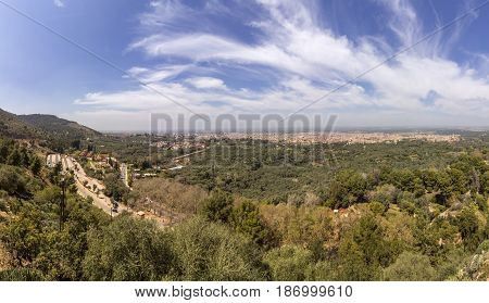 Panoramic view from ancient fortress named Kasbah Ras el-Ain in Asserdoun province of Beni Mellal Morocco.