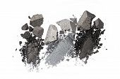 Smears of crushed shiny gray eyeshadow as sample of cosmetic product isolated on white background poster