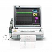 Vital Signs Monitor Device Isolated on White Background. Medical Diagnostic Equipment. Monitoring Device. Capnography Monitor. Clipping Path poster